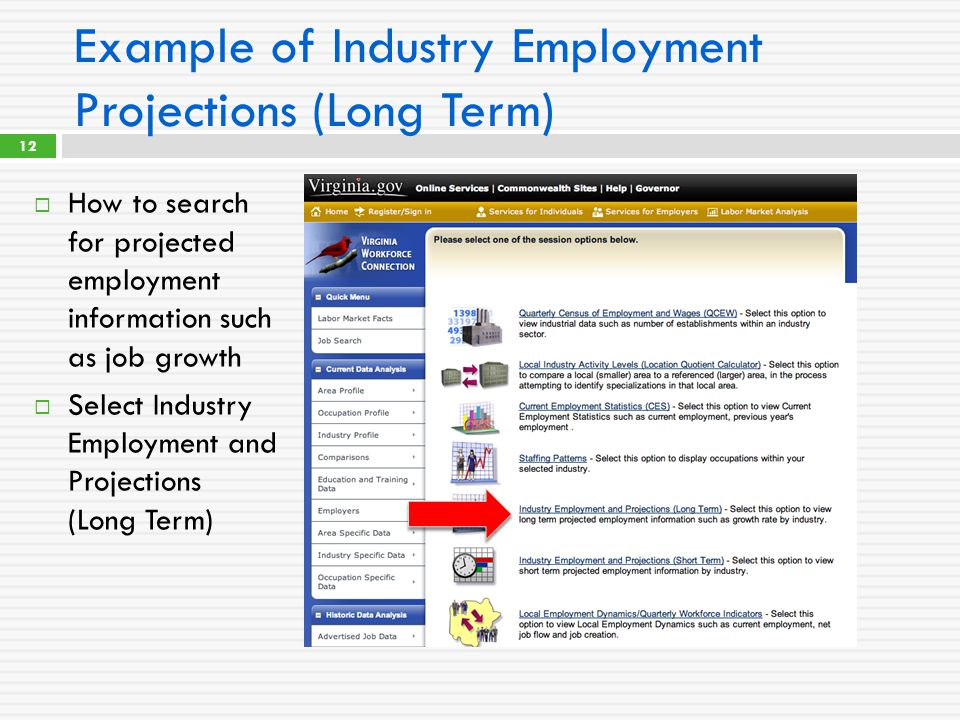 Example of Industry Employment Projections (Long Term)  How to search for projected employment information such as job growth  Select Industry Employment and Projections (Long Term) 12