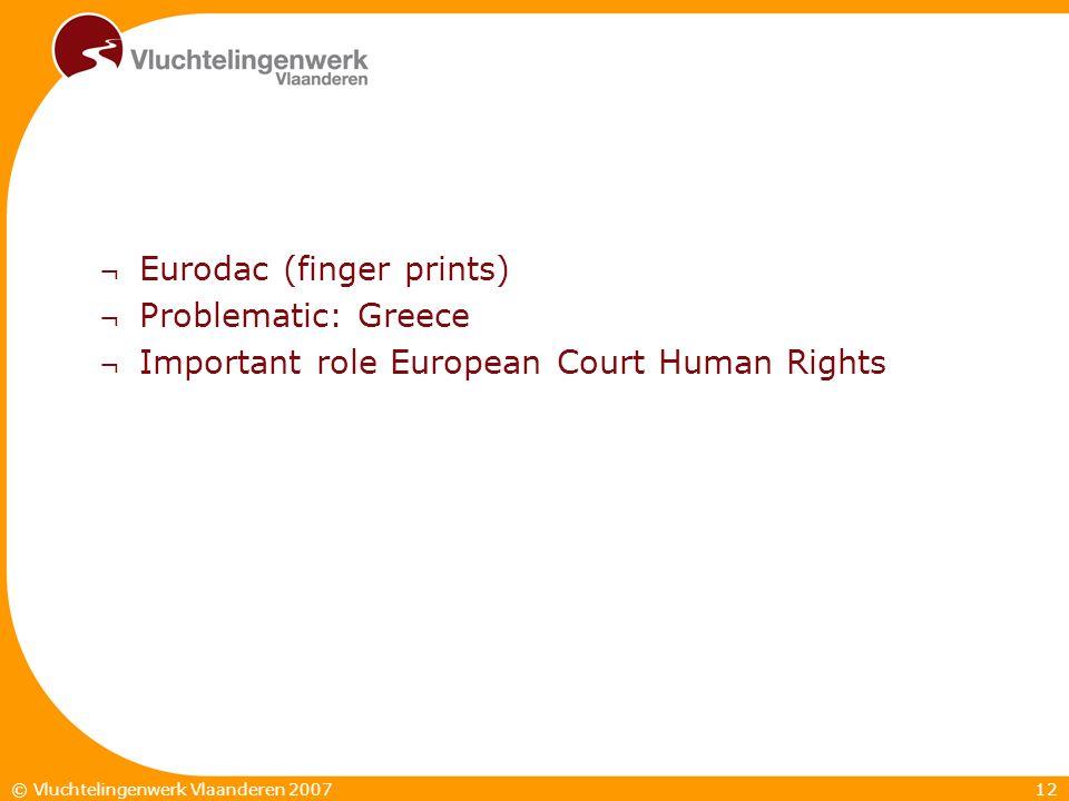 12© Vluchtelingenwerk Vlaanderen 2007 ¬ Eurodac (finger prints) ¬ Problematic: Greece ¬ Important role European Court Human Rights