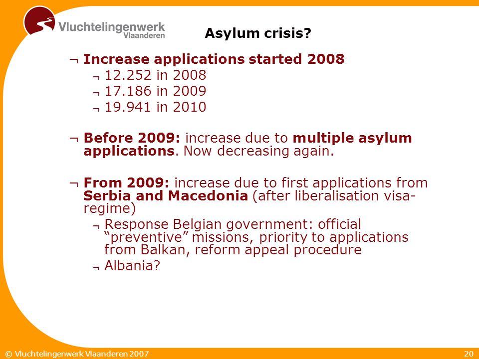 20© Vluchtelingenwerk Vlaanderen 2007 Asylum crisis.