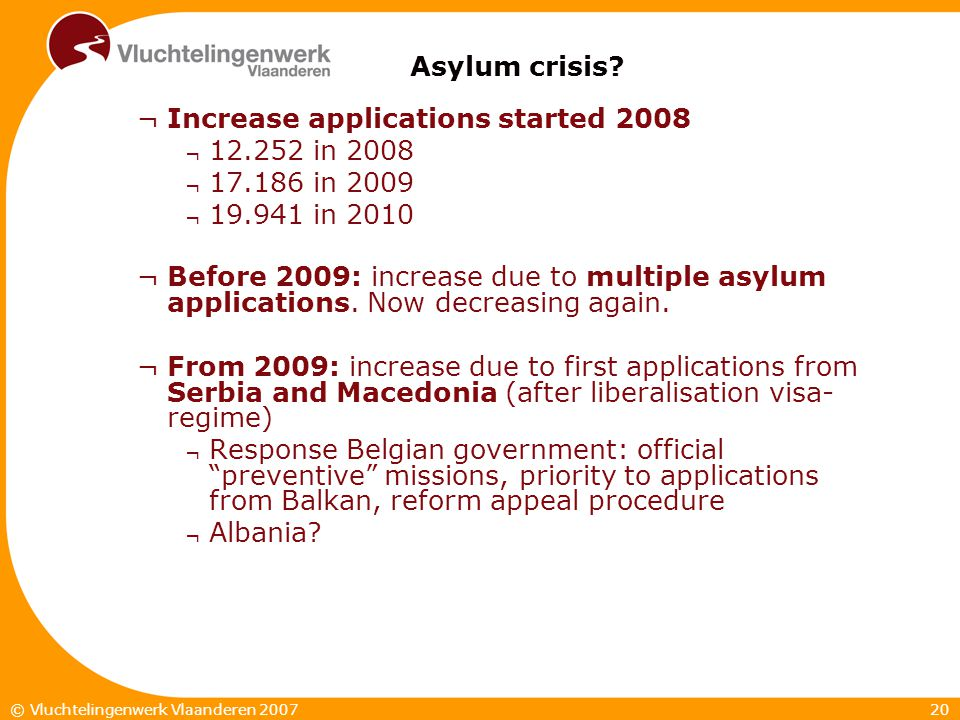 20© Vluchtelingenwerk Vlaanderen 2007 Asylum crisis? ¬Increase applications started 2008 ¬ 12.252 in 2008 ¬ 17.186 in 2009 ¬ 19.941 in 2010 ¬Before 20