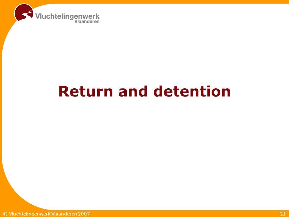 21© Vluchtelingenwerk Vlaanderen 2007 Return and detention