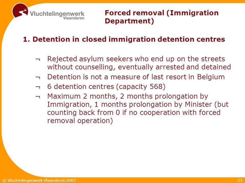23© Vluchtelingenwerk Vlaanderen 2007 Forced removal (Immigration Department) 1.