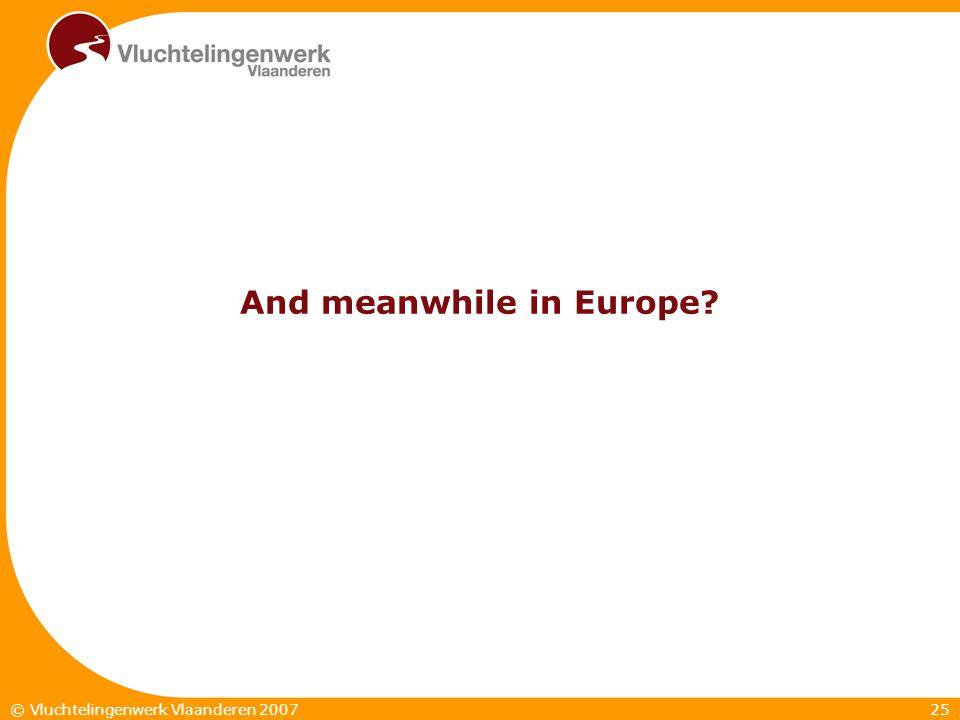 25© Vluchtelingenwerk Vlaanderen 2007 And meanwhile in Europe