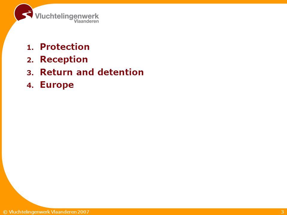 3© Vluchtelingenwerk Vlaanderen 2007 1. Protection 2. Reception 3. Return and detention 4. Europe