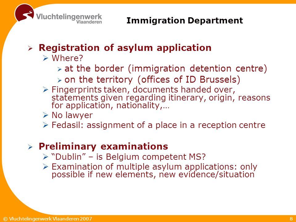 8© Vluchtelingenwerk Vlaanderen 2007 Immigration Department  Registration of asylum application  Where?  at the border (immigration detention centr