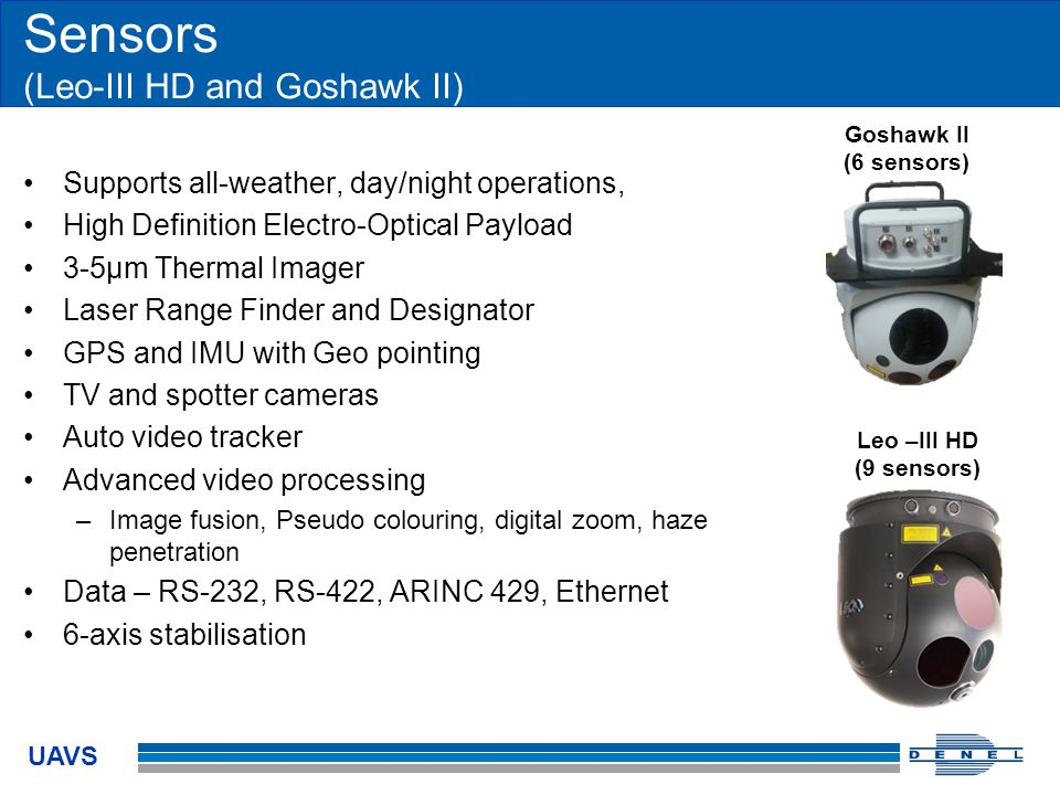 UAVS Sensors (Leo-III HD and Goshawk II) Supports all-weather, day/night operations, High Definition Electro-Optical Payload 3-5µm Thermal Imager Lase