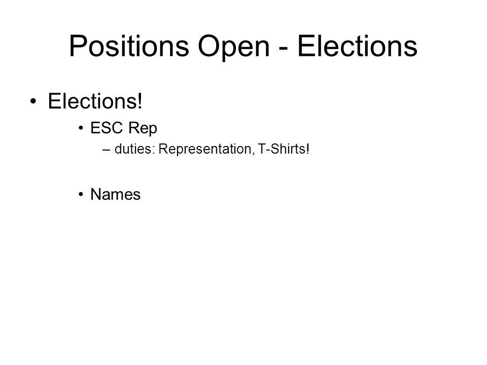 Positions Open - Elections Elections! ESC Rep –duties: Representation, T-Shirts! Names