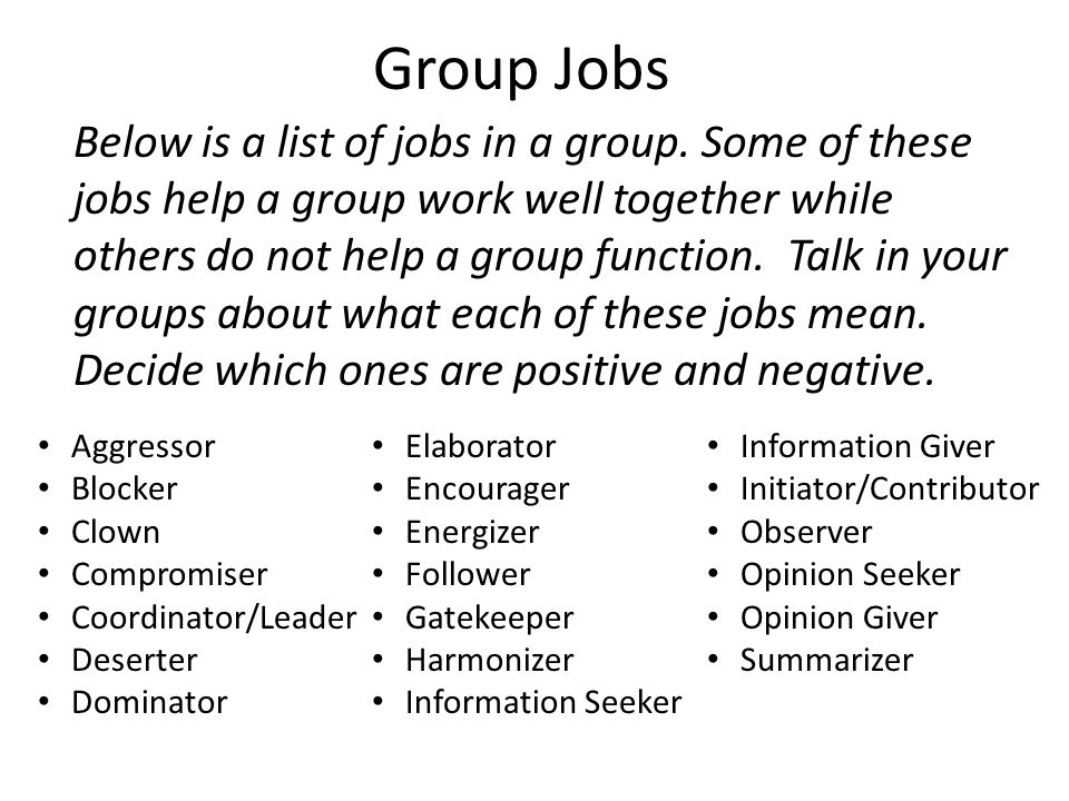 Group Jobs In your journal, list the positive and negative jobs based on the discussion your table had.
