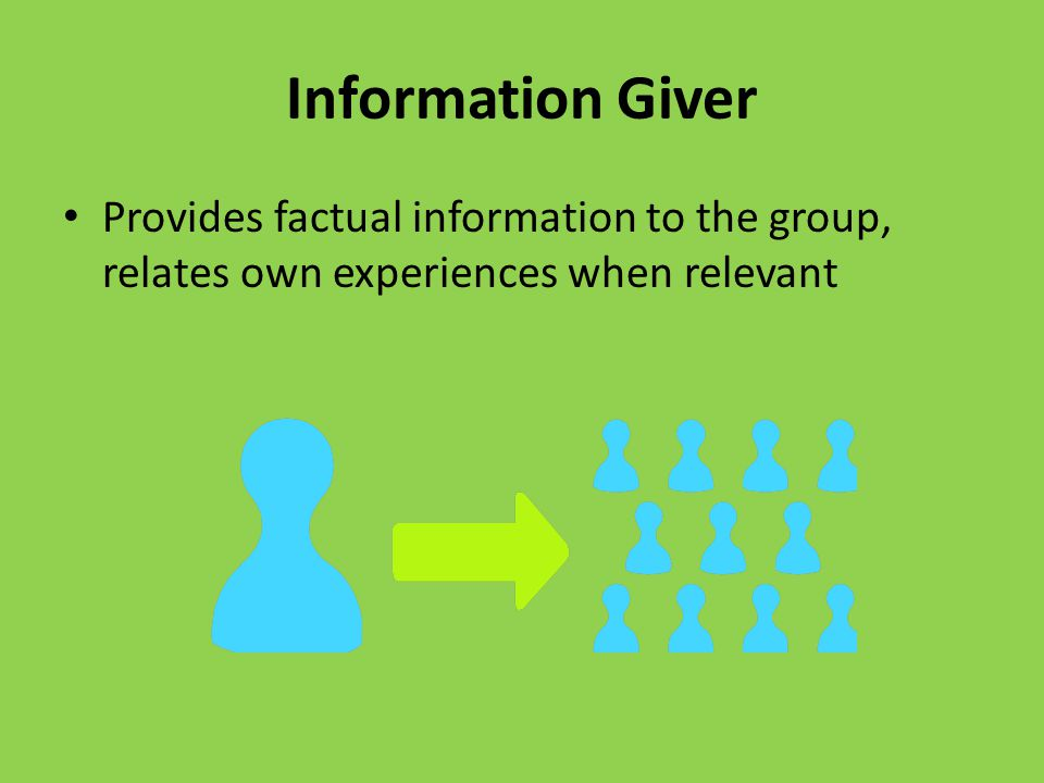 Follower Follows ideas of the group, accepts what others say, but not silent