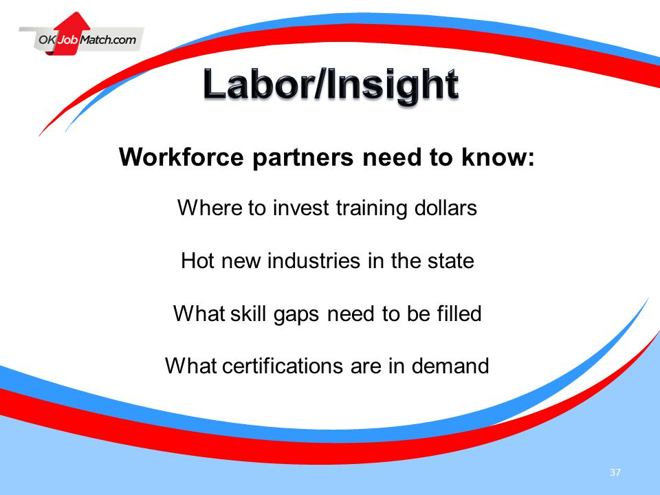 37 Workforce partners need to know: Where to invest training dollars Hot new industries in the state What skill gaps need to be filled What certifications are in demand