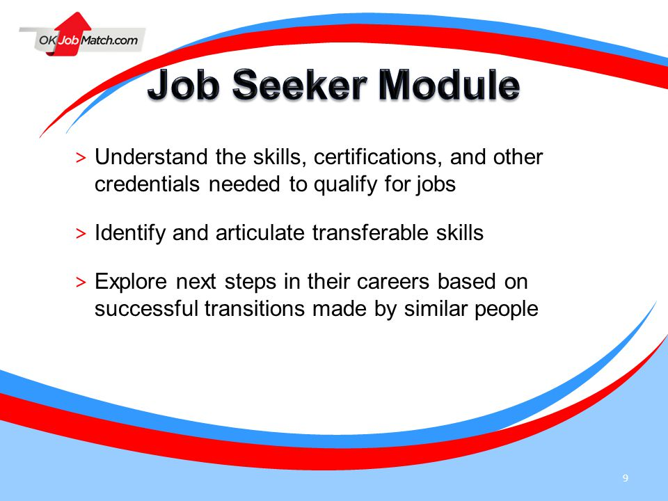 9 > Understand the skills, certifications, and other credentials needed to qualify for jobs > Identify and articulate transferable skills > Explore ne