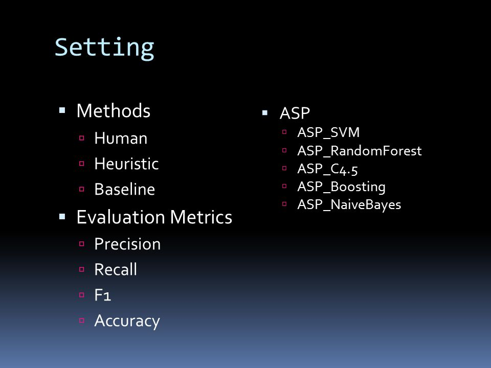 Setting  Methods  Human  Heuristic  Baseline  Evaluation Metrics  Precision  Recall  F1  Accuracy  ASP  ASP_SVM  ASP_RandomForest  ASP_C4.5  ASP_Boosting  ASP_NaiveBayes