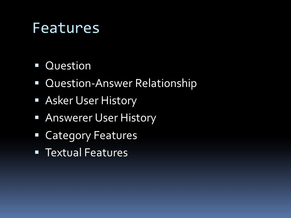 Features  Question  Question-Answer Relationship  Asker User History  Answerer User History  Category Features  Textual Features