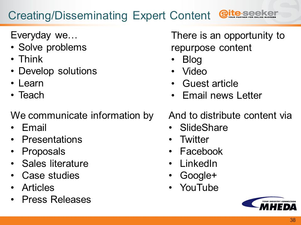 Creating/Disseminating Expert Content Everyday we… Solve problems Think Develop solutions Learn Teach We communicate information by Email Presentations Proposals Sales literature Case studies Articles Press Releases There is an opportunity to repurpose content Blog Video Guest article Email news Letter And to distribute content via SlideShare Twitter Facebook LinkedIn Google+ YouTube 38
