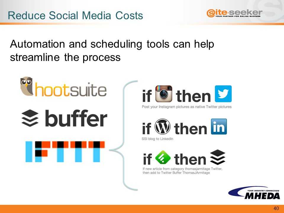 Reduce Social Media Costs Automation and scheduling tools can help streamline the process 40