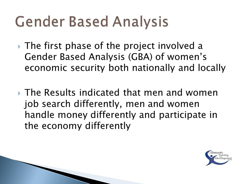  The first phase of the project involved a Gender Based Analysis (GBA) of women's economic security both nationally and locally  The Results indicated that men and women job search differently, men and women handle money differently and participate in the economy differently