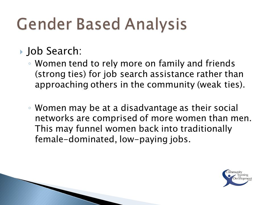  Job Search: ◦ Women tend to rely more on family and friends (strong ties) for job search assistance rather than approaching others in the community