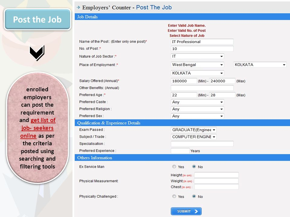 Post the Job enrolled employers can post the requirement and get list of job- seekers online as per the criteria posted using searching and filtering tools