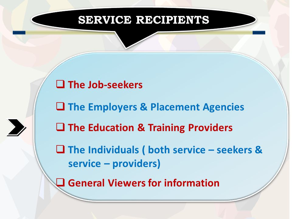 SERVICE RECIPIENTS  The Job-seekers  The Employers & Placement Agencies  The Education & Training Providers  The Individuals ( both service – seekers & service – providers)  General Viewers for information  The Job-seekers  The Employers & Placement Agencies  The Education & Training Providers  The Individuals ( both service – seekers & service – providers)  General Viewers for information