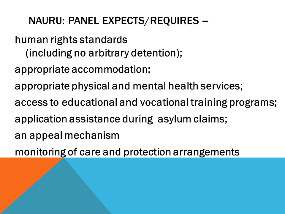 human rights standards (including no arbitrary detention); appropriate accommodation; appropriate physical and mental health services; access to educa