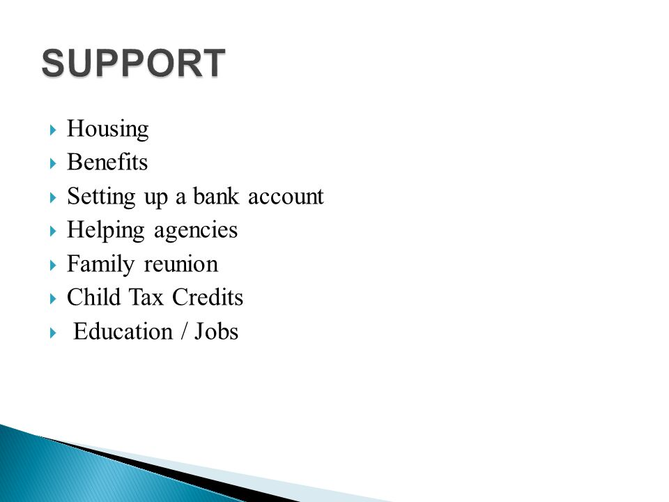 Housing  Benefits  Setting up a bank account  Helping agencies  Family reunion  Child Tax Credits  Education / Jobs