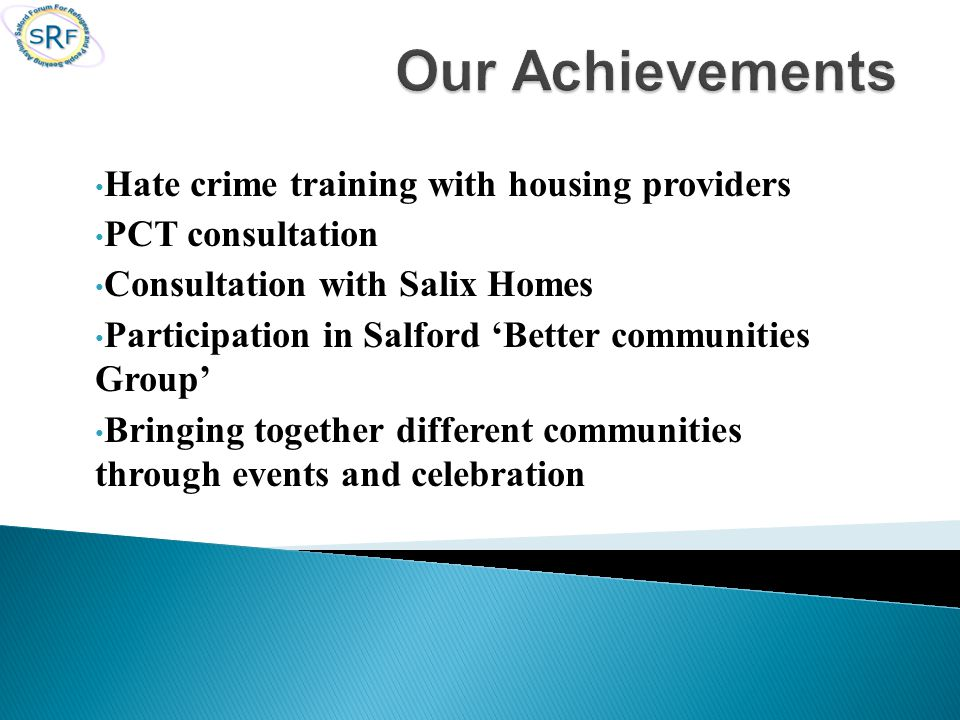 Hate crime training with housing providers PCT consultation Consultation with Salix Homes Participation in Salford 'Better communities Group' Bringing together different communities through events and celebration