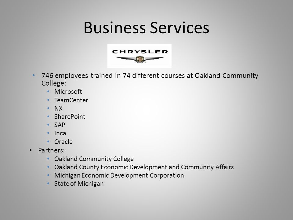 Business Services 746 employees trained in 74 different courses at Oakland Community College: Microsoft TeamCenter NX SharePoint SAP Inca Oracle Partn