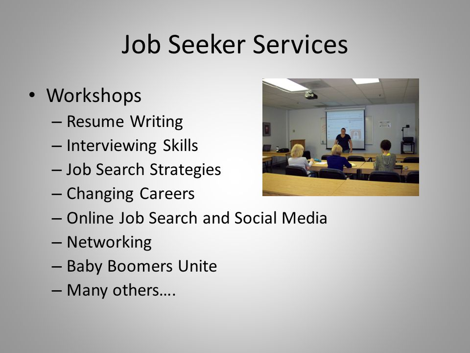 Job Seeker Services Workshops – Resume Writing – Interviewing Skills – Job Search Strategies – Changing Careers – Online Job Search and Social Media –