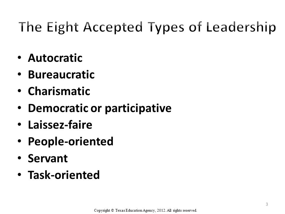 Authoritarian Leadership (Autocratic) Authoritarian leaders provide clear expectations for what needs to be done, when it should be done, and how it should be done.
