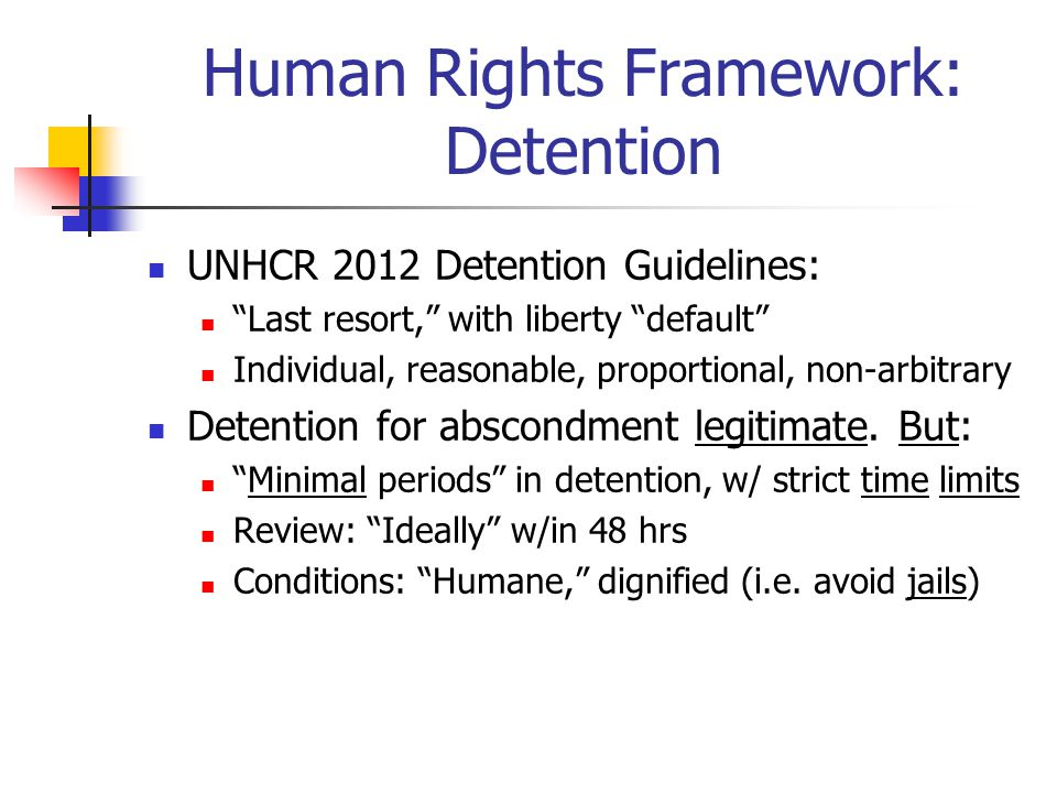 Human Rights Framework: Detention UNHCR 2012 Detention Guidelines: Last resort, with liberty default Individual, reasonable, proportional, non-arbitrary Detention for abscondment legitimate.