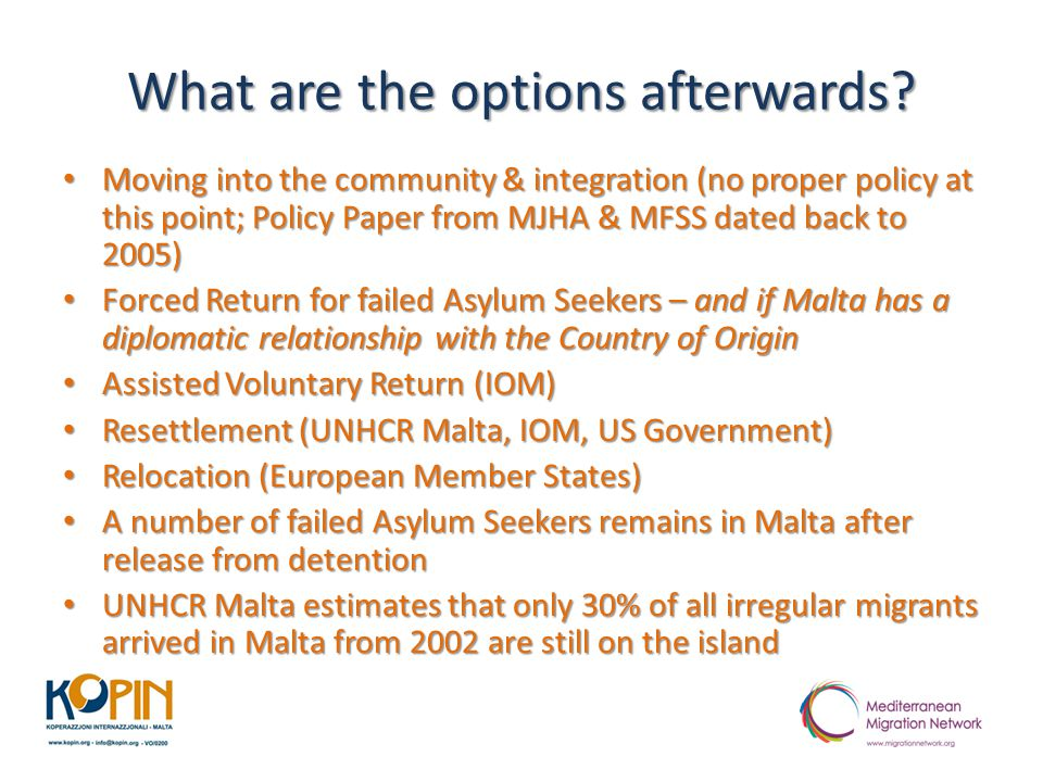 What are the options afterwards? Moving into the community & integration (no proper policy at this point; Policy Paper from MJHA & MFSS dated back to