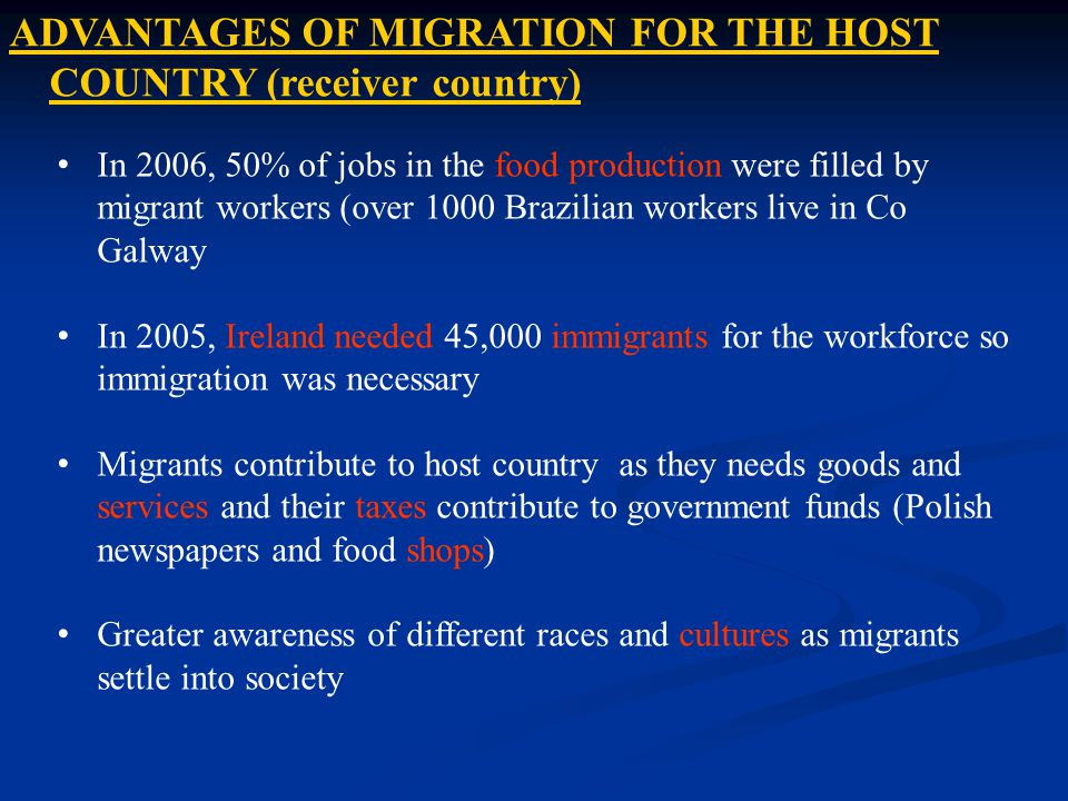 In 2006, 50% of jobs in the food production were filled by migrant workers (over 1000 Brazilian workers live in Co Galway In 2005, Ireland needed 45,0