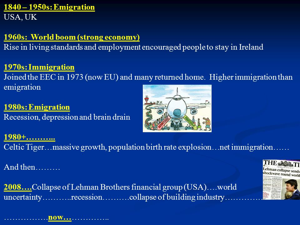 1840 – 1950s: Emigration USA, UK 1960s: World boom (strong economy) Rise in living standards and employment encouraged people to stay in Ireland 1970s