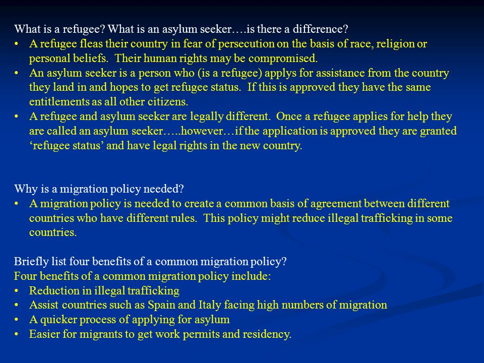 What is a refugee? What is an asylum seeker….is there a difference? A refugee fleas their country in fear of persecution on the basis of race, religio
