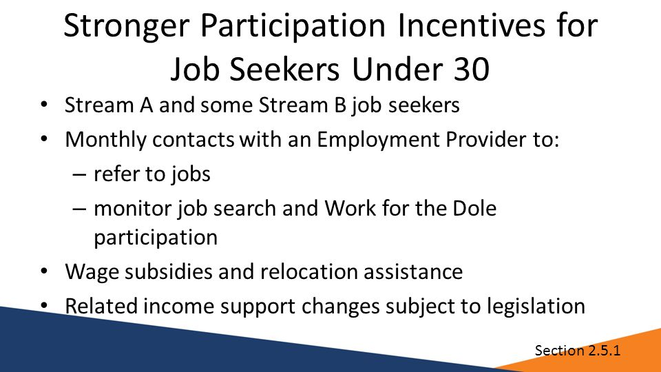 Stronger Participation Incentives for Job Seekers Under 30 Stream A and some Stream B job seekers Monthly contacts with an Employment Provider to: – refer to jobs – monitor job search and Work for the Dole participation Wage subsidies and relocation assistance Related income support changes subject to legislation Section 2.5.1
