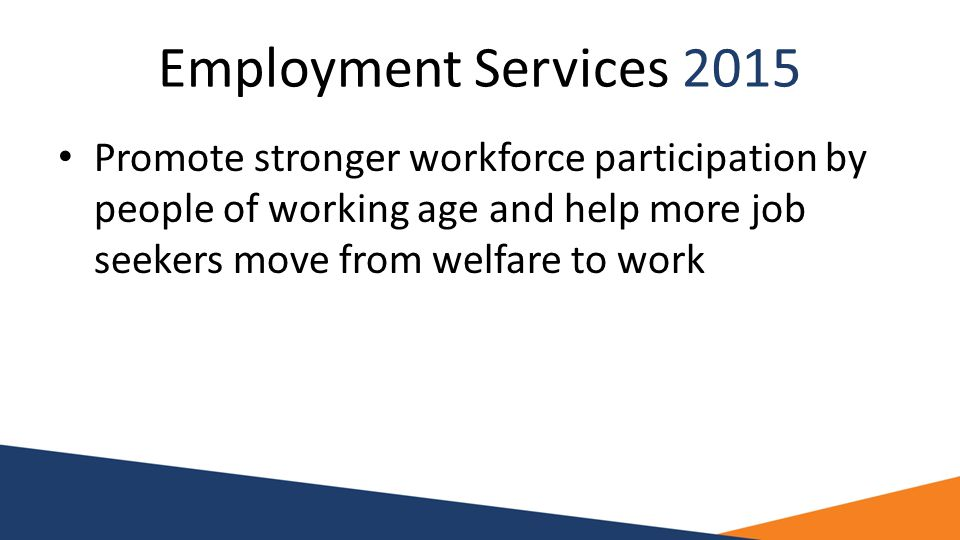 Employment Services 2015 Promote stronger workforce participation by people of working age and help more job seekers move from welfare to work