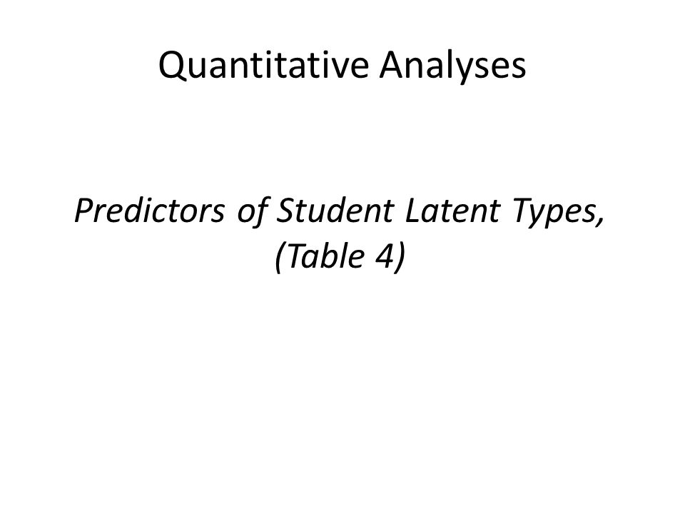Quantitative Analyses Predictors of Student Latent Types, (Table 4)