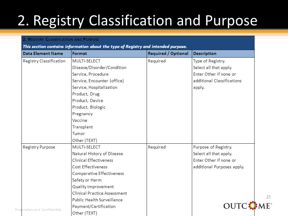 Proprietary and Confidential 2. Registry Classification and Purpose 25 2.