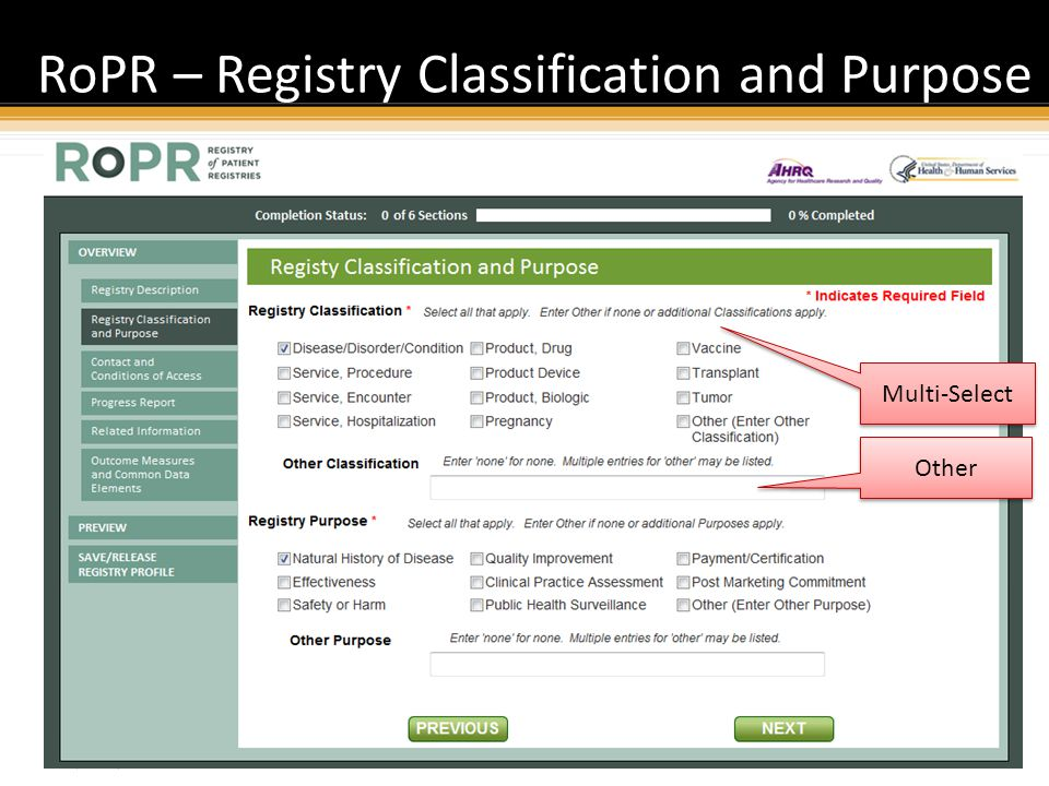 Proprietary and Confidential RoPR – Registry Classification and Purpose 36 Multi-Select Other