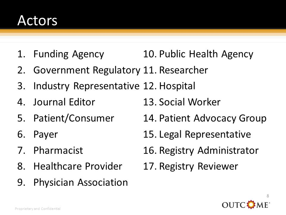 Proprietary and Confidential Actors 8 1.Funding Agency 2.Government Regulatory 3.Industry Representative 4.Journal Editor 5.Patient/Consumer 6.Payer 7.Pharmacist 8.Healthcare Provider 9.Physician Association 10.Public Health Agency 11.Researcher 12.Hospital 13.Social Worker 14.Patient Advocacy Group 15.Legal Representative 16.Registry Administrator 17.Registry Reviewer