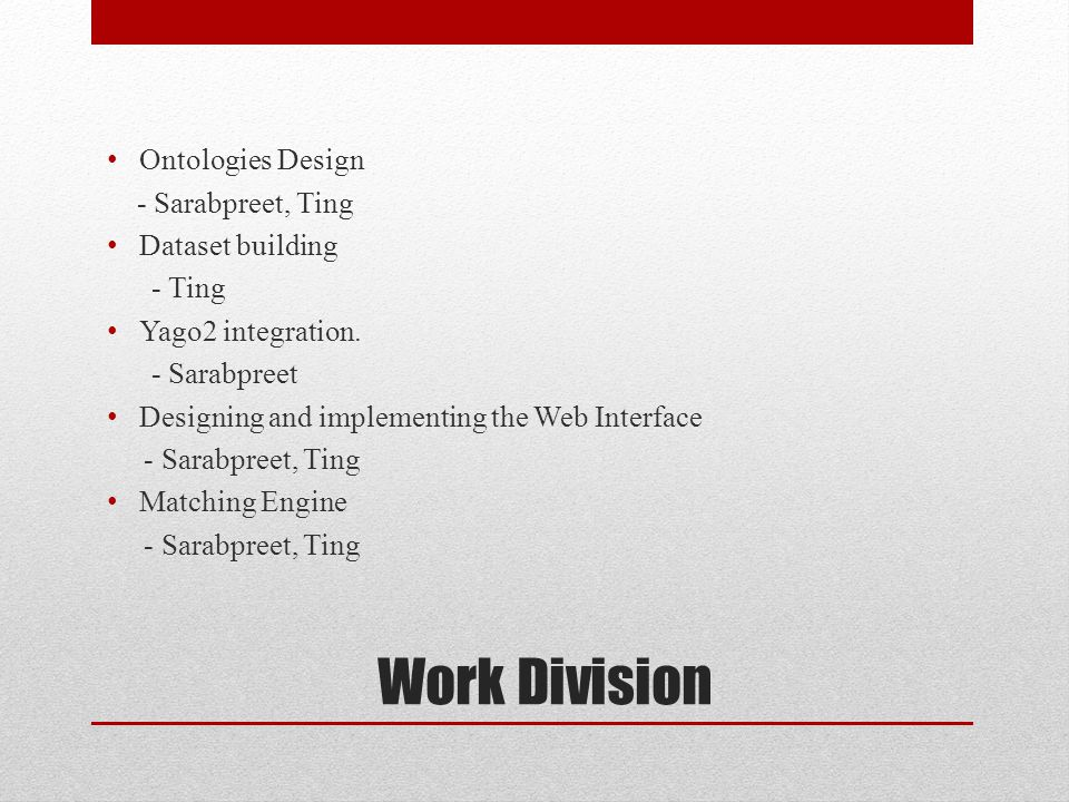 Work Division Ontologies Design - Sarabpreet, Ting Dataset building - Ting Yago2 integration.