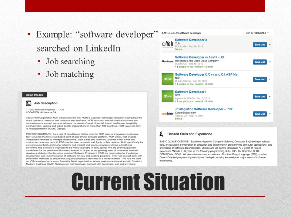 Current Situation Example: software developer searched on LinkedIn Job searching Job matching