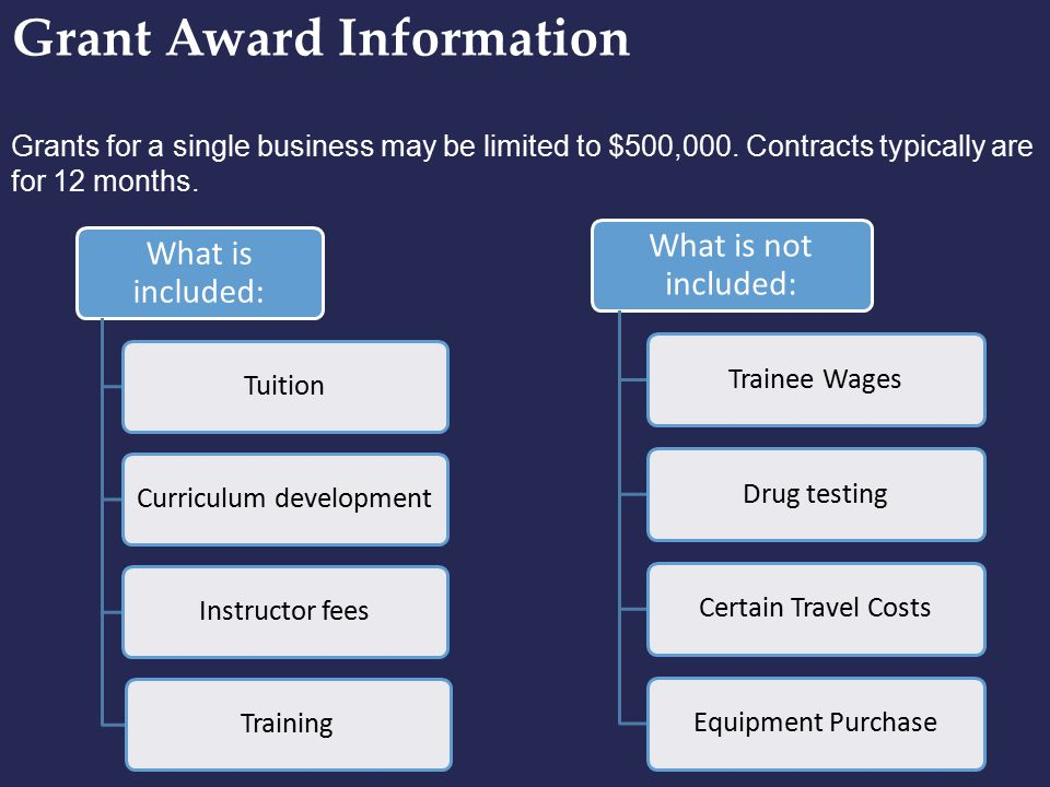 Grant Award Information Grants for a single business may be limited to $500,000. Contracts typically are for 12 months. What is included: TuitionCurri