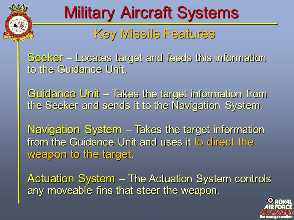 Military Aircraft Systems Armament Section – Contains the payload, fusing, safety & arming devices, and the target-detecting devices.