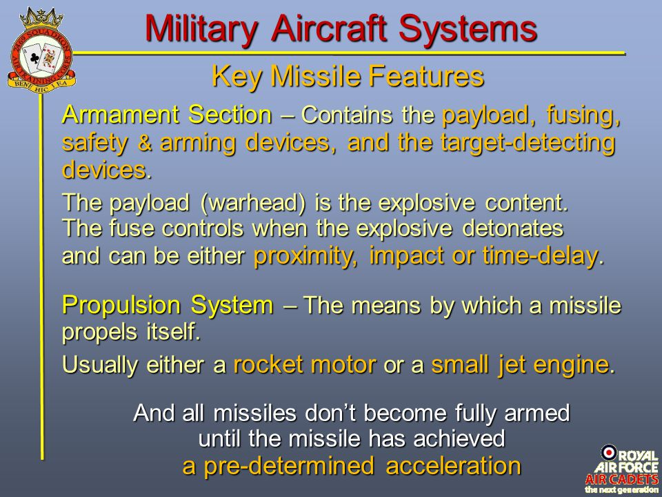Check of Understanding At what point does a launched missile become fully armed.