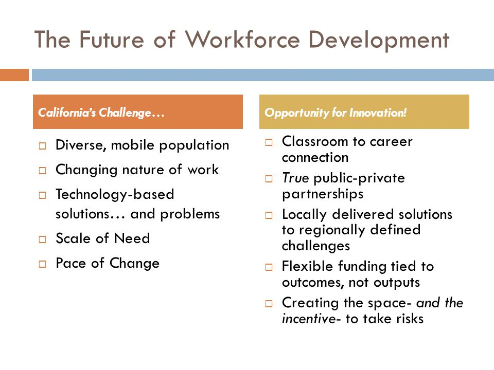The Future of Workforce Development  Diverse, mobile population  Changing nature of work  Technology-based solutions… and problems  Scale of Need  Pace of Change  Classroom to career connection  True public-private partnerships  Locally delivered solutions to regionally defined challenges  Flexible funding tied to outcomes, not outputs  Creating the space- and the incentive- to take risks California's Challenge…Opportunity for Innovation!