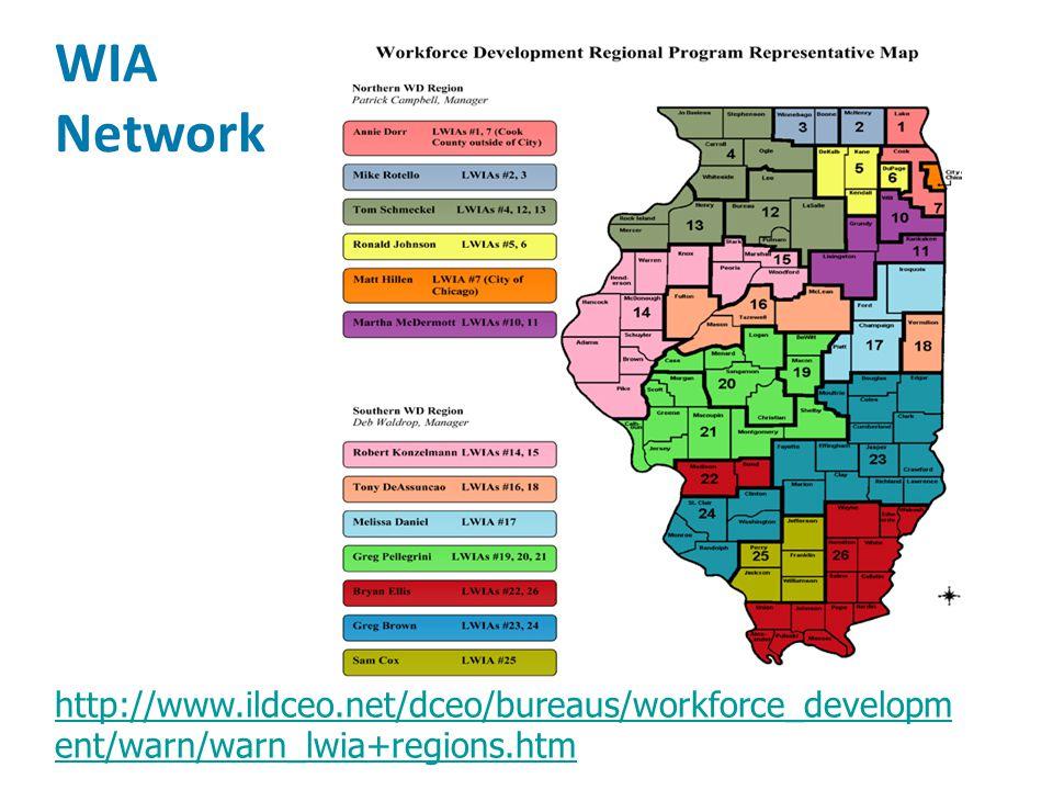 WIA Network # Workforce Centers (aka one-stops) # Affiliate Agencies http://www.ildceo.net/dceo/bureaus/workforce_developm ent/warn/warn_lwia+regions.htm
