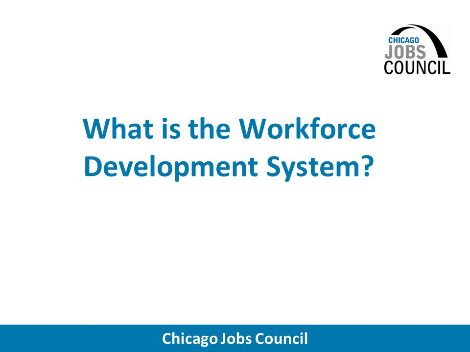 Chicago Jobs Council Temporary Assistance for Needy Families (TANF) Uses related to workforce development –Source of flexible funding for training and job placement services (both TANF recipients and non-recipients) –Pipeline into employment & training services for low- income parents Access to services is through Family Community Resource Centers (run by IDHS)