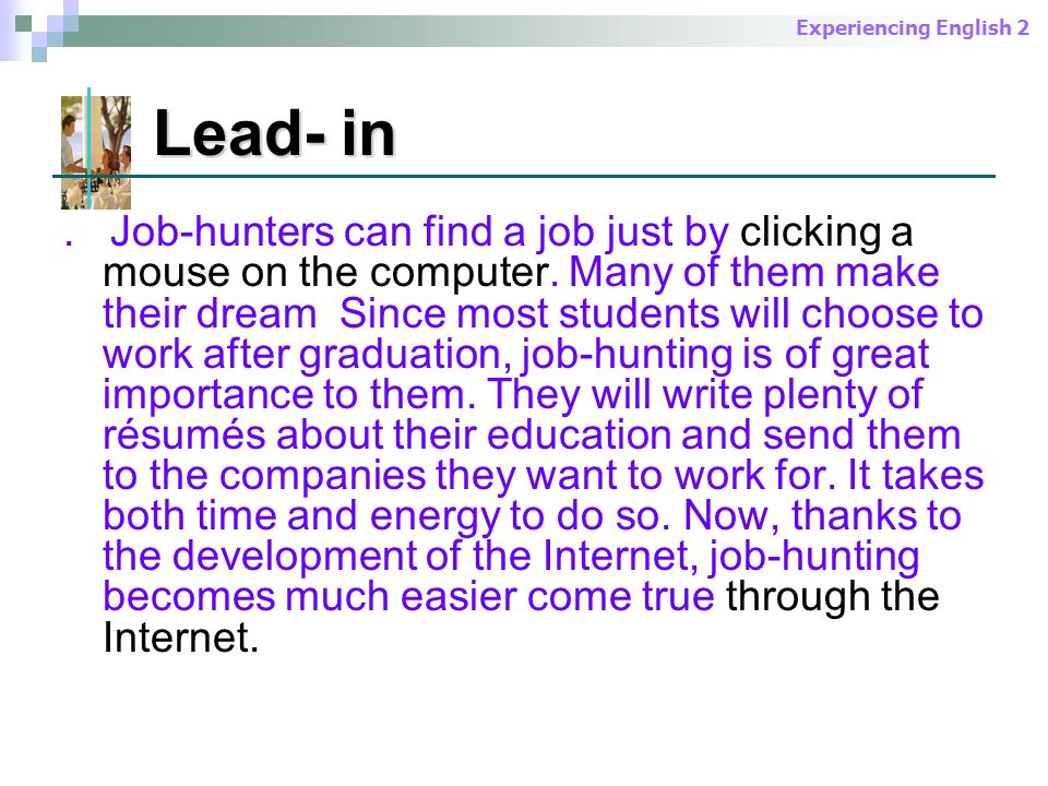 Experiencing English 2 Lead- in Lead- in.