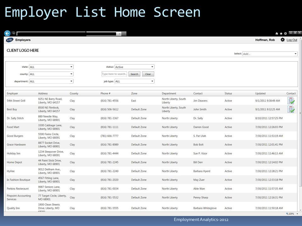 Employer List Home Screen Employment Analytics-2012